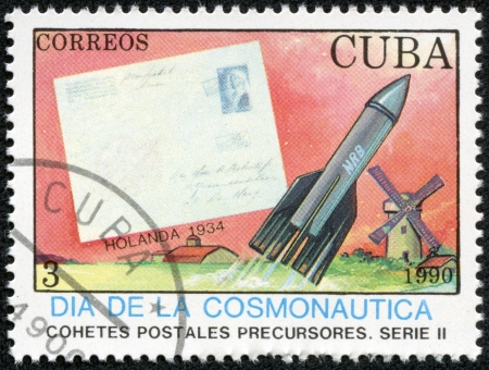 CUBA - CORREOS 1990  A stamp printed in Cuba dedicated to Transatlantic flights ,correos 1990