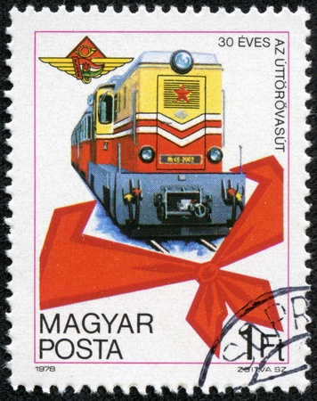 magyar posta: HUNGARY - CIRCA 1978  A stamp printed in Hungary issued for the 30th Anniversary of Budapest Pioneer Railway shows a Diesel MK 45 Locomotive, circa 1978