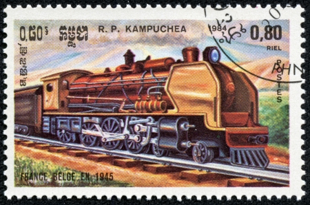 rapid steel: KAMPUCHEA - CIRCA 1984  Obsolete canceled postage commemorative honoring railroad locomotives, circa 1984, Kampuchea Editorial
