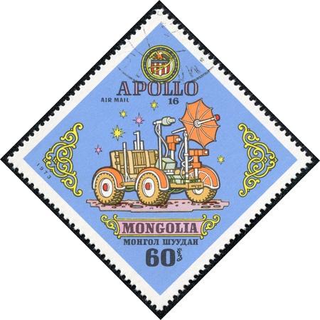 moonwalk: MONGOLIA - CIRCA 1973  A stamp printed by Mongolia, shows Apollo 16 moon rover, circa 1973