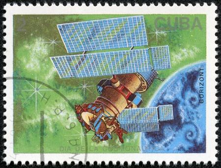 CUBA - CIRCA 1988  A stamp printed in Cuba, shows a satellite Gorizont, series Cosmonauts Day, circa 1988
