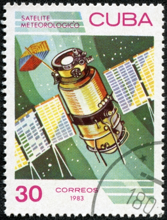 satelite: CUBA - CIRCA 1983  A stamp printed in Cuba, shows  satelite meteorologico  space satellite , circa 1983