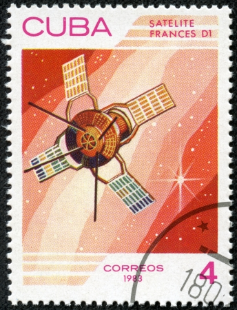 d1: CUBA - CIRCA 1983  A stamp printed in Cuba, shows French space satellite  D1 , circa 1983