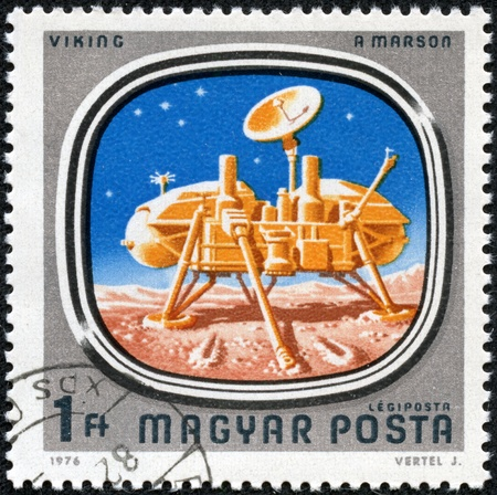 magyar: HUNGARY - CIRCA 1976  A stamp printed in Hungary shows Viking on Mars, with the same inscription, from the series  Space Probes to Mars and Venus , circa 1976