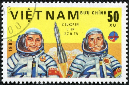 VIET NAM - CIRCA 1983  stamp printed by Viet Nam, shows astronauts Bykovsky, Jahn, circa 1983