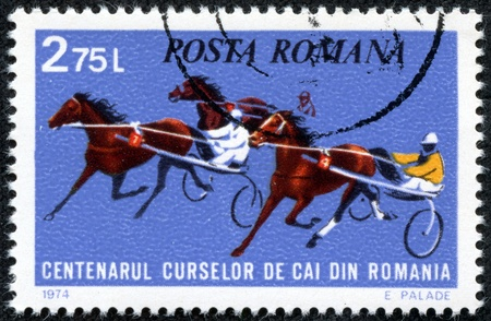 show horse: ROMANIA - CIRCA 1974  stamp printed by Romania, show horse races, circa 1974  Editorial