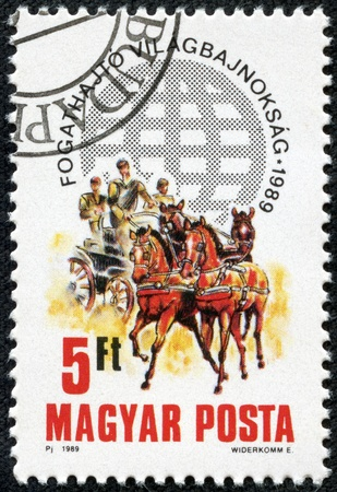 third world: HUNGARY - CIRCA 1989  stamp printed by Hungary, shows Third World Two-in-Hand Carriage-driving Championship , circa 1989