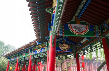 Chinese historic building detail,Huaqing Hot Spring,Xi  an,Shaanxi province Stock Photo