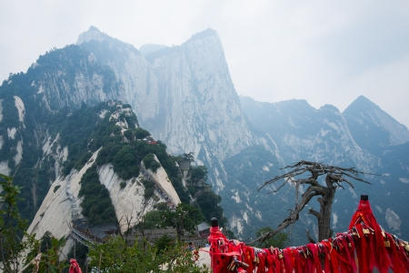 Huashan mountain scene  Huashan Mountain is one of famous Mountains in China  It is located in SHanxi province CHina, 120 kilometers away from Xi  an