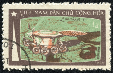 VIETNAM - CIRCA 1965  A stamp printed in Vietnam showing planet exploration circa 1965