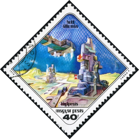 pal: HUNGARY - CIRCA 1978  A stamp printed in Hungary shows Paintings Space Station and Moon, with the same inscription, from the series  Science Fiction Paintings by Pal Varga , circa 1978 Editorial
