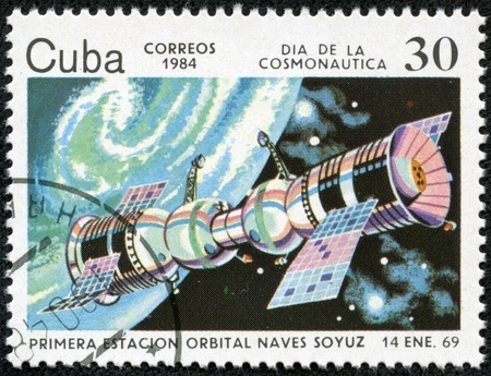 CUBA CIRCA 1984  stamp printed by CUBA, shows Cosmonautics Day - Soyuz satellite Jimagua January 14, 1969, CIRCA 1984