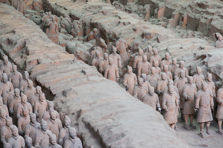 XIAN,CHINA -August 23  The Terracotta Army or the  Terra Cotta Warriors and Horses  buried in  pits next to the Qin Shi Huang s tomb in 210-209 BC  August 23, 2013 in Xian of Shaanxi Province, China