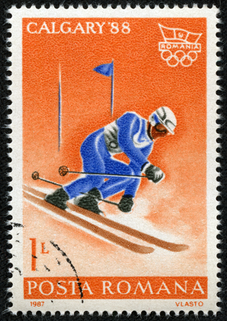 ROMANIA - CIRCA 1987  A stamp printed in Romania, shows Slalom and Olympic emblem, with inscription  Calgary, 1988 , from the series  Winter Olympic Games, Calgary, 1988 , circa 1987