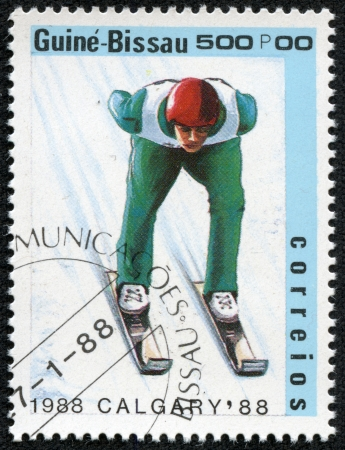 GUINEA-BISSAU - CIRCA 1988  A stamp printed in Guinea-Bissau shows Skiing, circa 1988