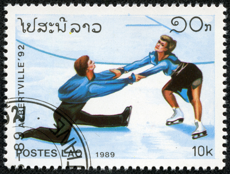 LAOS - CIRCA 1989  stamp printed by Laos, shows professional figure skaters, circa 1989