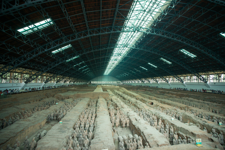 terra cotta: XIAN,CHINA -August 23  The Terracotta Army or the  Terra Cotta Warriors and Horses  buried in  pits next to the Qin Shi Huang s tomb in 210-209 BC  August 23, 2013 in Xian of Shaanxi Province, China