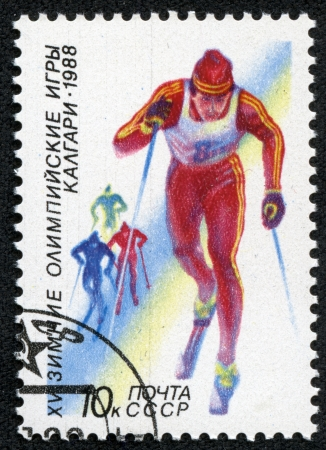 USSR - CIRCA 1988  A stamp printed in the USSR shows cross-country skiing, series Olympic Games in Calgary 1988, circa 1988