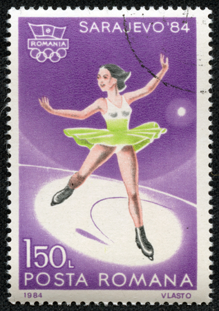 ROMANIA - CIRCA 1984  stamp printed by Romania, shows Figure skating, circa 1984