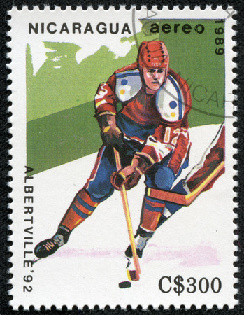 NICARAGUA - CIRCA 1989  a stamp printed in Nicaragua shows ice hockey, 1992 Winter Olympics, Albertville, France, circa 1989