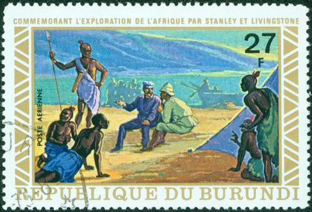 meets: BURUNDI - CIRCA 1973  A stamp printed in Burundi shows image of the Henry Morton Stanley meets David Livingstone, circa 1973  Editorial