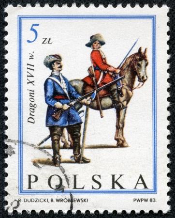sobieski: POLAND - CIRCA 1983  A stamp printed in Poland shows Dragoons, XVII century, the same inscription, series  300th Anniversary of Polish Relief of Vienna  Troops of King Jan III Sobieski , circa 1983 Editorial