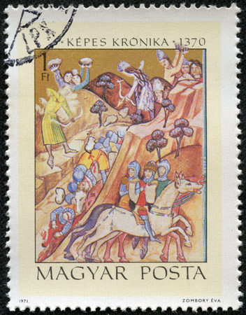 chronicle: HUNGARY - CIRCA 1971  A stamp printed in Hungary shows Bazarad s Victory over King Karoly I, inscription  Illustrated Chronicle 1370 , series  Miniatures from Chronicle of King Lajos I , circa 1971