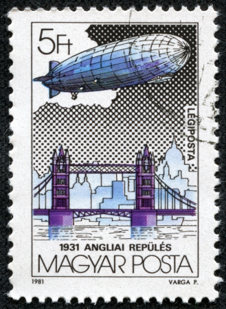 graf: HUNGARY - CIRCA 1981  stamp printed by Hungry, shows Graf Zeppelin Flights, circa 1981