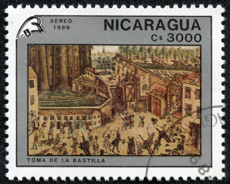 storming: NICARAGUA - CIRCA 1989  a stamp printed in Nicaragua shows Storming the Bastille, Painting by Claude Cholat, French Revolution, Bicentennial, circa 1989 Editorial