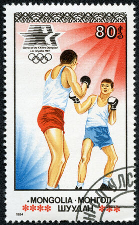 MONGOLIA - CIRCA 1984  A stamp printed in Mongolia showing boxing,Olympic Games in Los Angeles circa 1984
