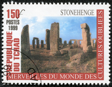 chadian: CHAD - CIRCA 1999  A stamp printed in Chad from the  Wonders of Forgotten Cultures  issue shows stonehenge, circa 1999