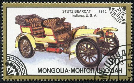 bearcat: MONGOLIA - CIRCA 1986  A stamp printed in Mongolia shows stutz bearcat indiana usa 1912, circa 1986