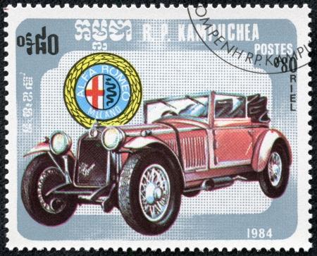 KAMPUCHEA-CIRCA 1984  A stamp printed in the Cambodia, depicts a classic car ,Alfa romeo miland, circa 1984 Editorial