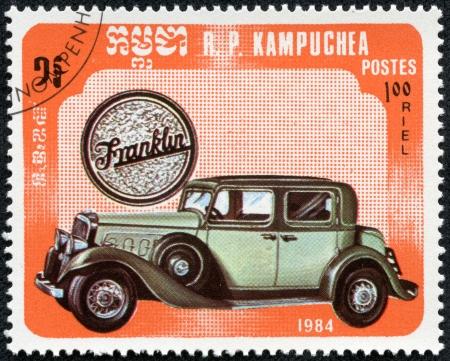 KAMPUCHEA-CIRCA 1984  A stamp printed in the Cambodia, depicts a classic car ,franklin, circa 1984 Editorial