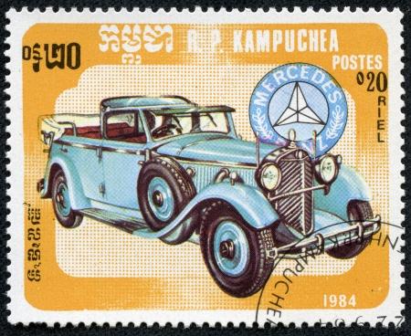 KAMPUCHEA-CIRCA 1984  A stamp printed in the Cambodia, depicts a classic car Mercedes Benz, circa 1984