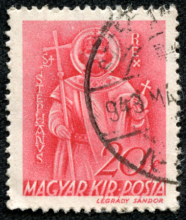 magyar: HUNGARY - CIRCA 1939  A stamp printed by Hungary, shows St  Stephen, circa 1939 Editorial