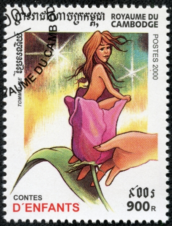 CAMBODIA - CIRCA 2000  A stamp printed in Cambodia from the  Children stories  issue shows Thumbelina, circa 2000  photo