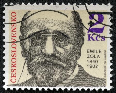 CZECHOSLOVAKIA - CIRCA 1990  A stamp printed in Czechoslovakia, shows Emile Zola, circa 1990