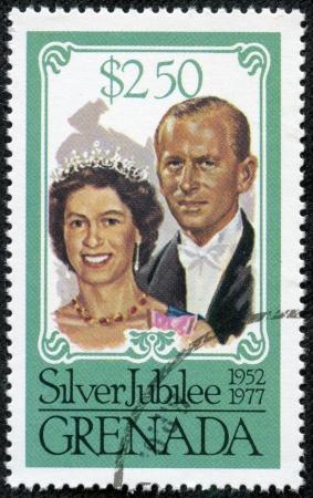 queen elizabeth ii: GRENADA - CIRCA 1977  A stamp printed in Grenada issued for the Coronation of Queen Elizabeth II, 25th anniversary , circa 1977