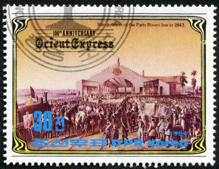 inauguration: KOREA - CIRCA 1984  A stamp printed in Korea, shows inauguration of the Paris-Roven line in 1843 , circa 1984