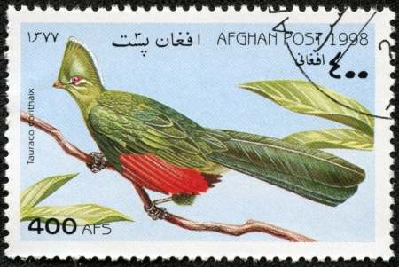 afghan: AFGHAN - CIRCA 1998  A stamp printed in Afghan shows Tauraco corythaix, circa 1998