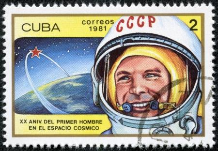 yuri: CUBA - CIRCA 1981  cancelled stamp printed in CUBA, shows first russian, soviet astronaut Yury Gagarin, space-vehicle shuttle orbit, circa 1981  20 anniversary of 1st space flight