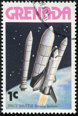 booster: GRENADA - CIRCA 1978  A stamp printed in Grenada shows Space Shuttle - booster jettison, circa 1978 Stock Photo