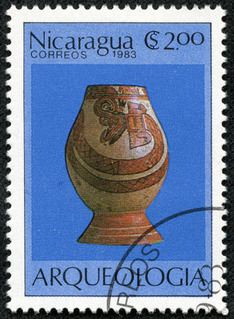 finds: NICARAGUA - CIRCA 1983  A stamp printed in Nicaragua from the  Archaeologica l Finds   issue shows Vase with snake design, circa 1983