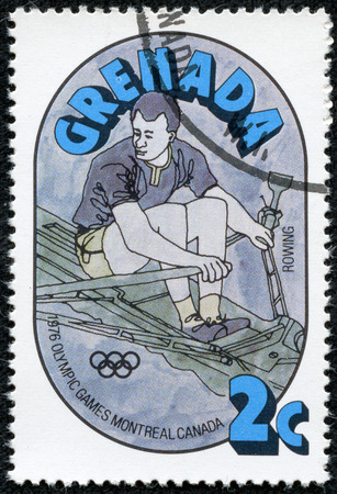 olympic ring: GRENADA - CIRCA 1976  A stamp printed in Grenada from the  Olympic Games, Montreal   issue shows rowing, circa 1976  Editorial