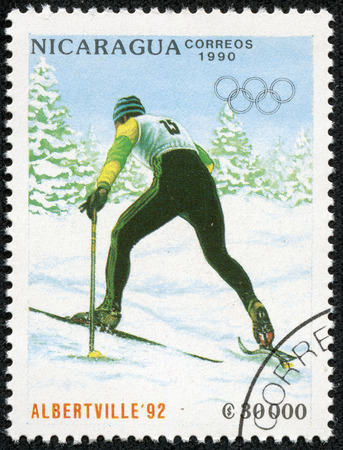 NICARAGUA - CIRCA 1989  a stamp printed in Nicaragua shows Cross-country skiing, 1992 Winter Olympics, Albertville, France, circa 1989