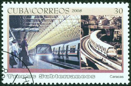 CUBA - CIRCA 2008  A stamp printed in Cuba dedicated to subways, shows the caracas subway, circa 2008