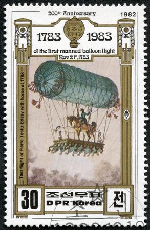 DPR KOREA - CIRCA 1982  A stamp printed in DPR KOREA shows hot air balloon,200th Anniversary of the first manned balloon flight Nov 21st, 1783, circa 1982
