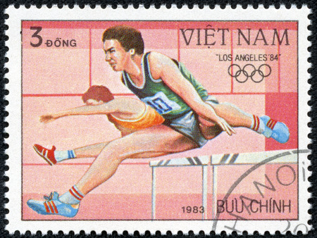 VIETNAM-CIRCA 1983  A stamp printed in the Vietnam, shows Hurdler, 1984 Olympic Games, Los Angeles, California, circa 1983