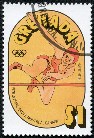 grenadines: GRENADA - CIRCA 1976  A stamp printed in Grenada from the  Olympic Games, Montreal   issue shows high jump, circa 1976